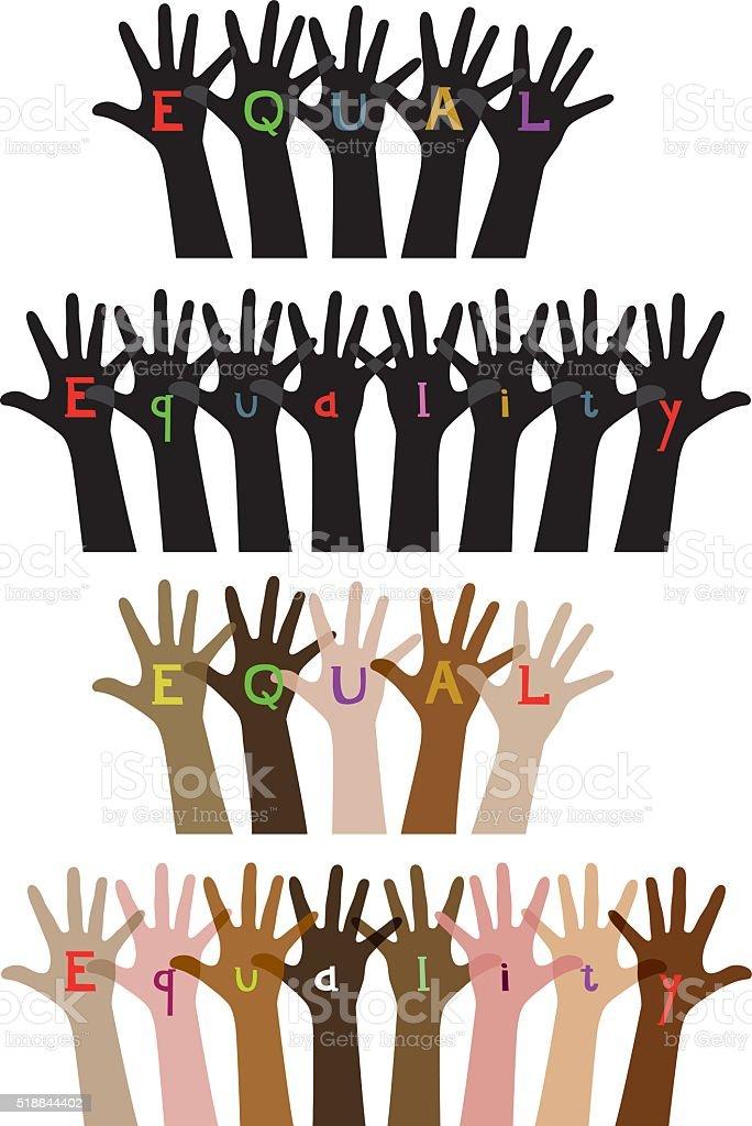 Equality hand illustration vector art illustration