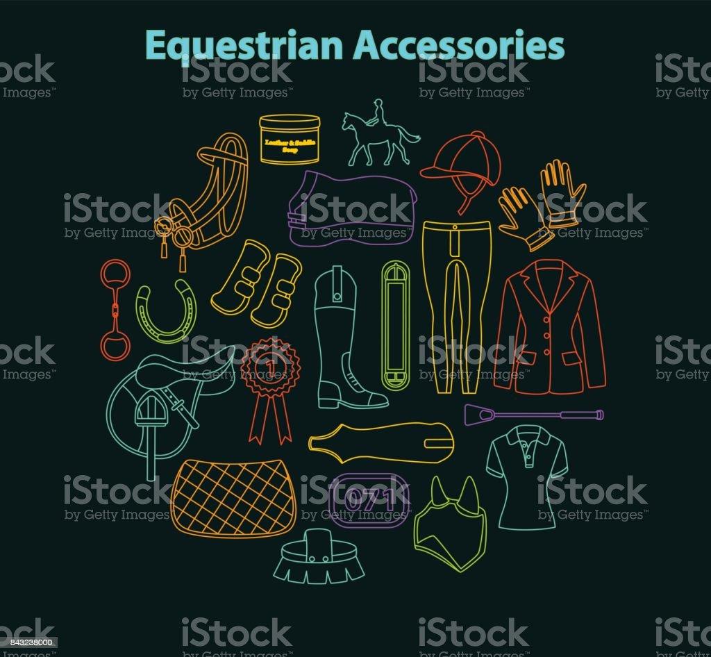 Equestrian accessories set vector art illustration