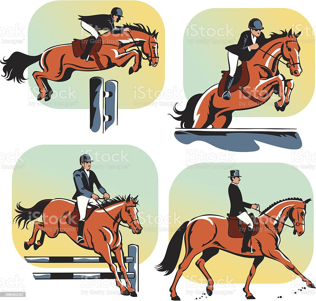 Equestrian Dressage and Jumping royalty-free stock vector art