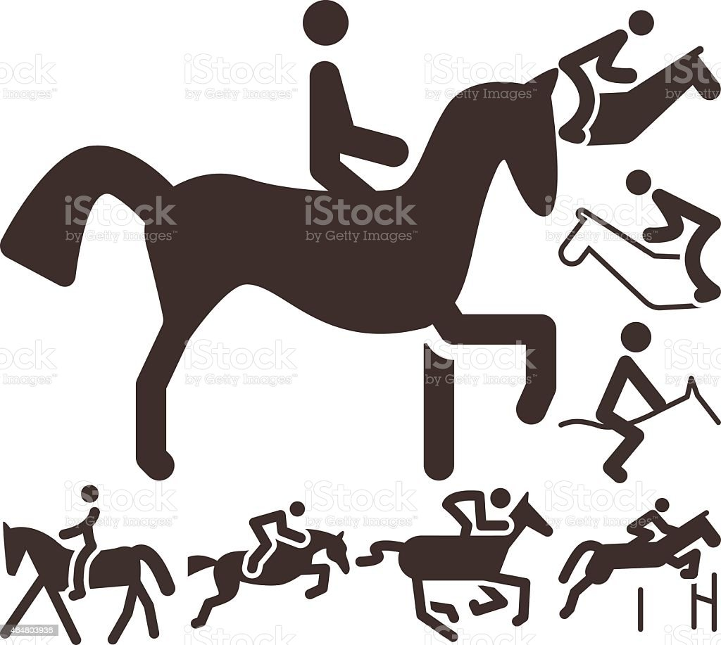Equestrian icons vector art illustration