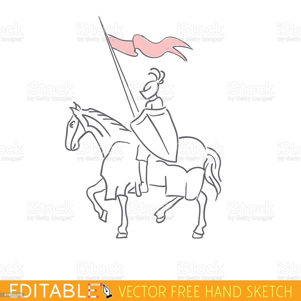 Equestrian Knight. Editable vector icon in free hand style vector art illustration