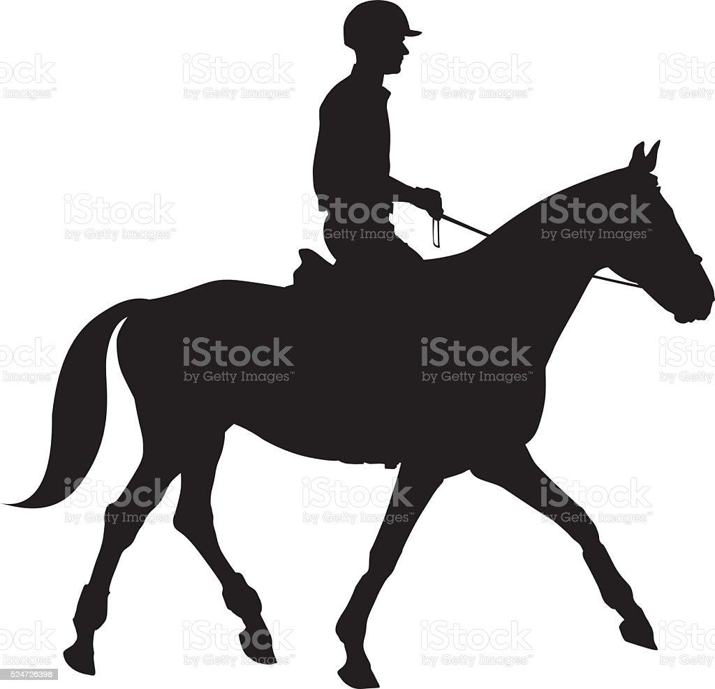 Equestrian sport silhouettes vector art illustration