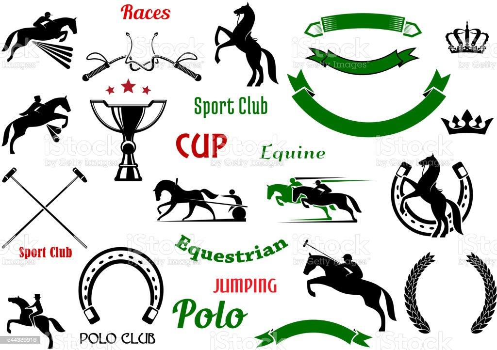 Equestrian sports design elements with horses vector art illustration