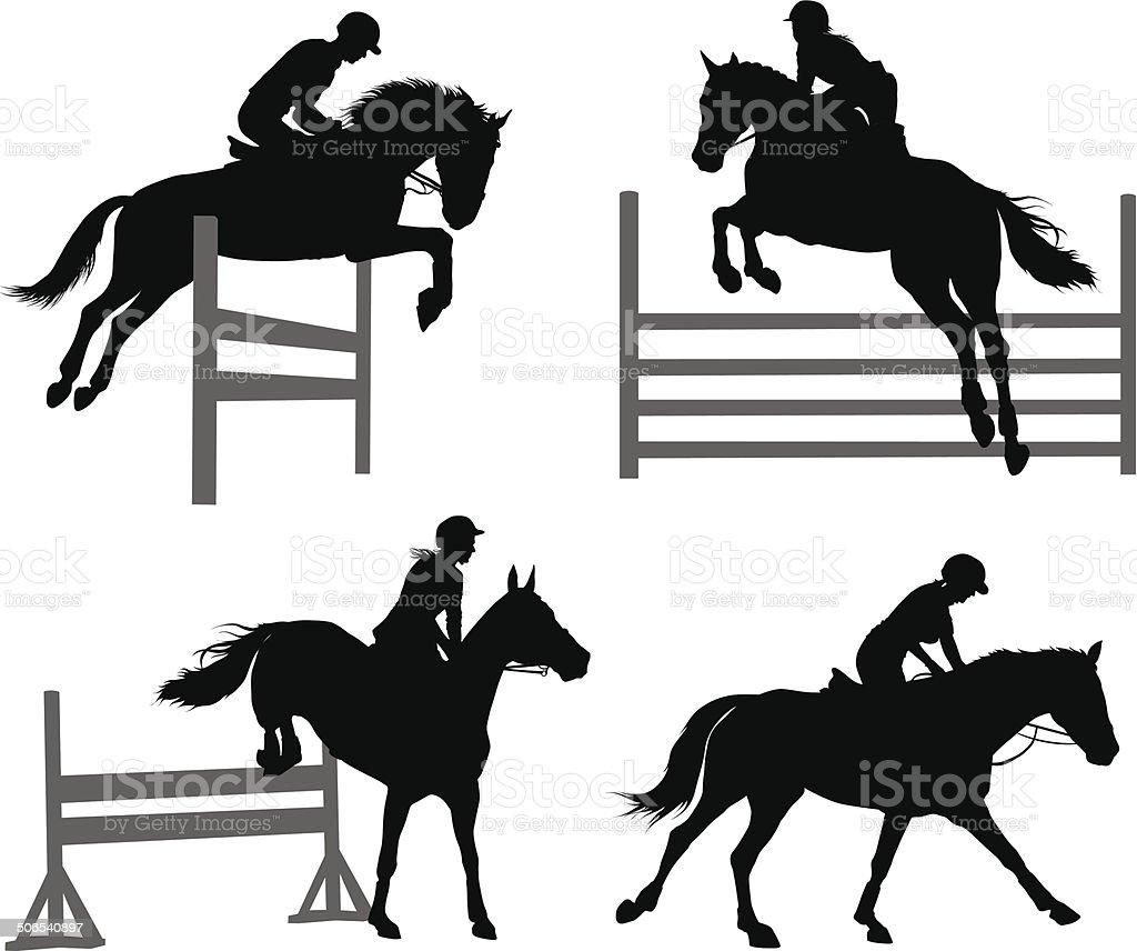 Equestrian sports set vector art illustration