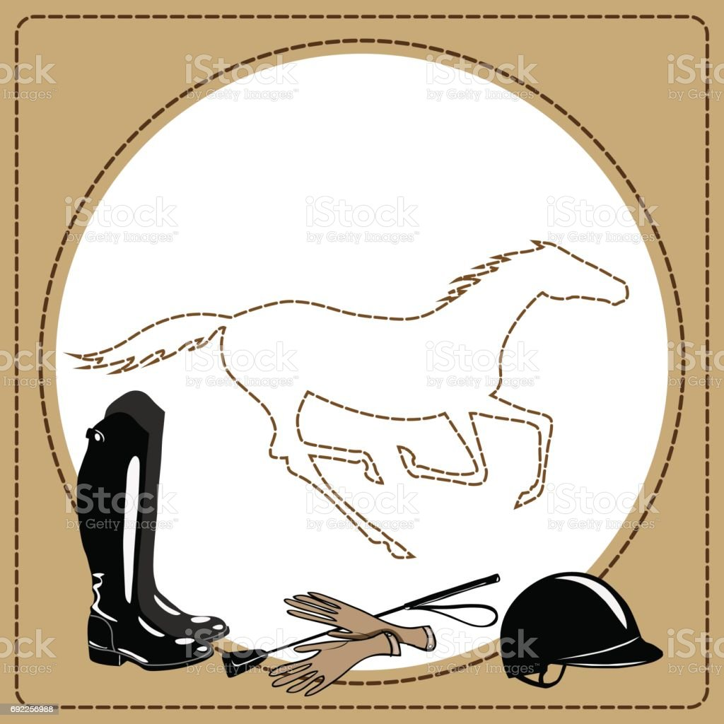 Equine riding tack tools in the leather frame and galloping horse. vector art illustration