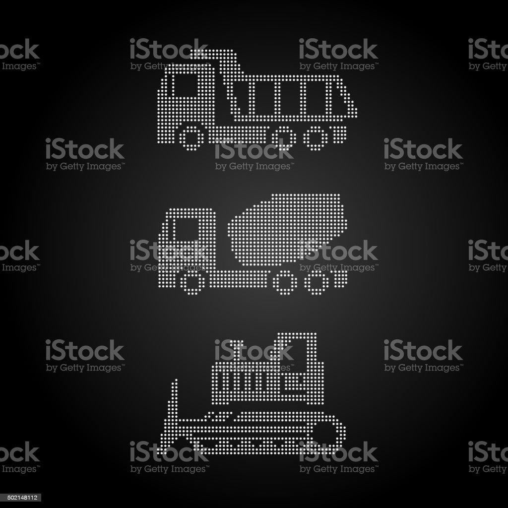 equipment on white tractor, grader, truck, truck mixer vector art illustration