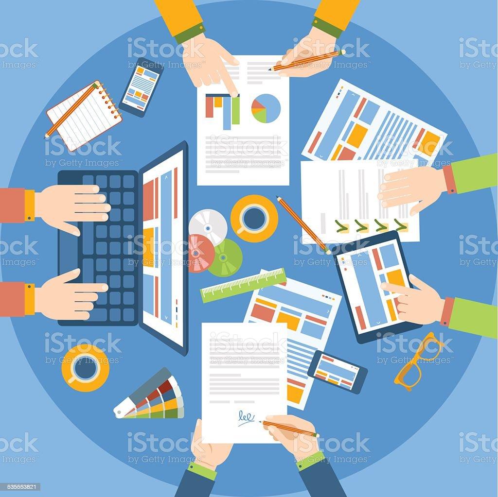 Equipo de trabajo en la mesa. vector art illustration