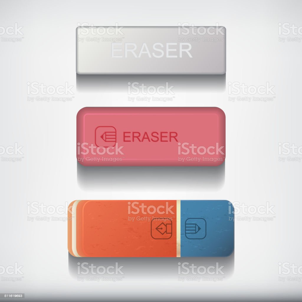 Eraser set isolated on white background. vector art illustration