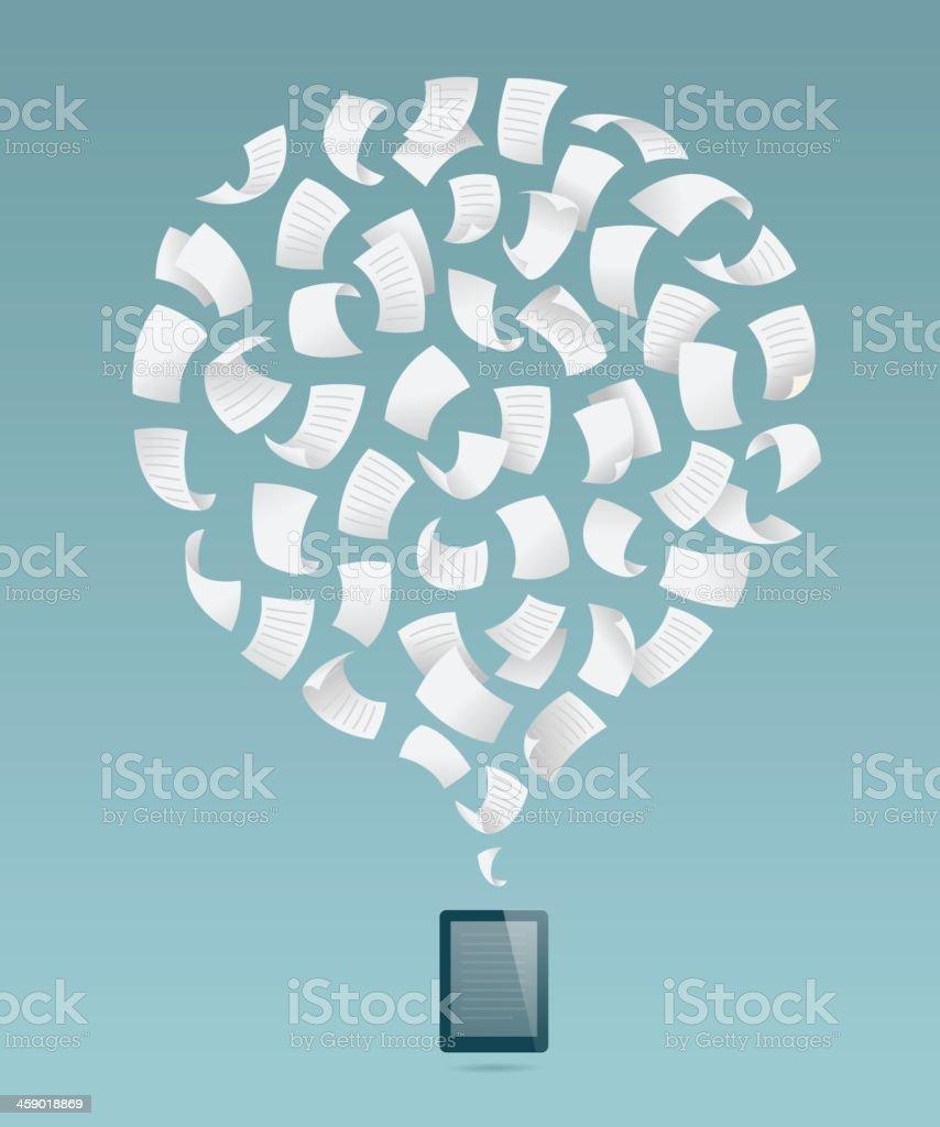 e-reader, e-book, flying sheets vector art illustration