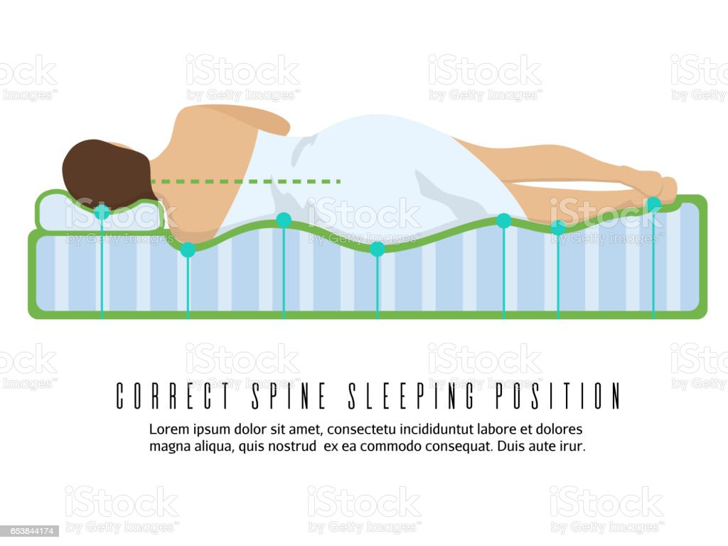 Ergonomic orthopedic mattress vector illustration. Correct spine sleeping position vector art illustration