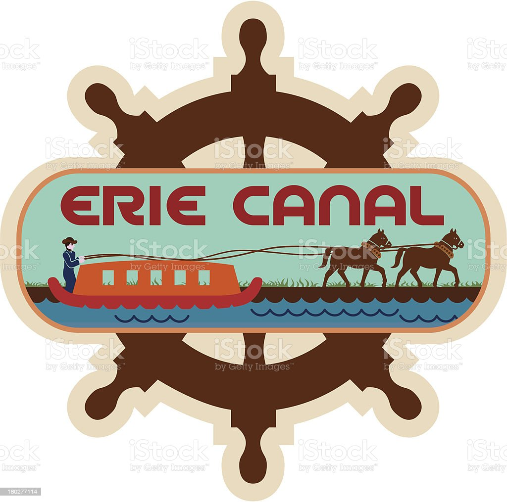 Erie Canal luggage label or travel sticker royalty-free stock vector art