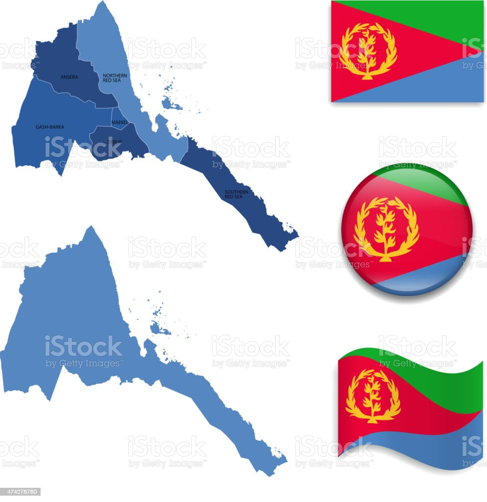Eritrea Map and Flag Collection vector art illustration