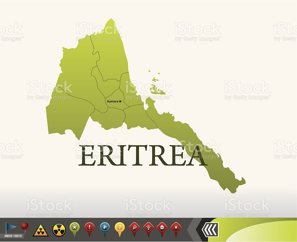 Eritrea map with navigation icons vector art illustration