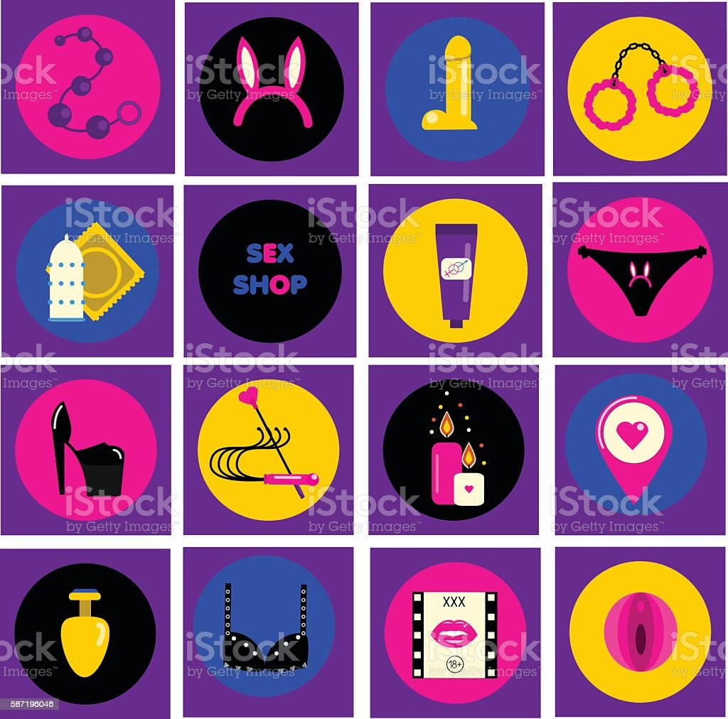 Erotic, sex shop symbols. Adult games and toys icons vector art illustration
