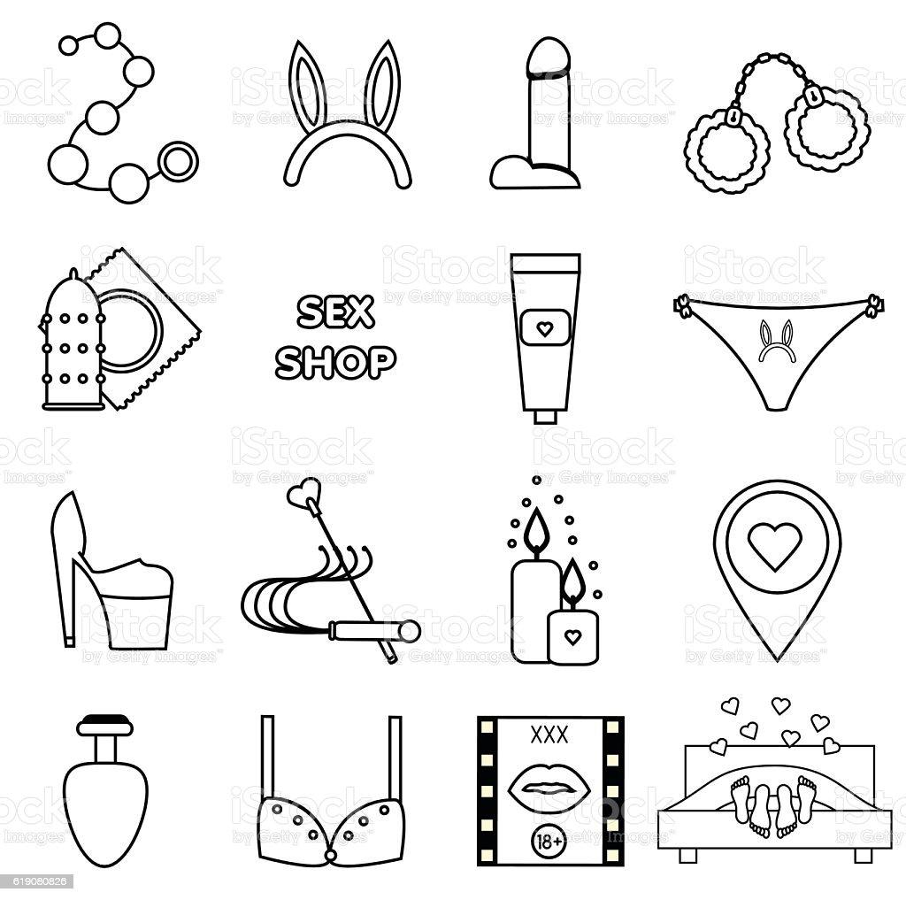 Erotic, sex shop symbols. Adult games, toys outline icons set vector art illustration