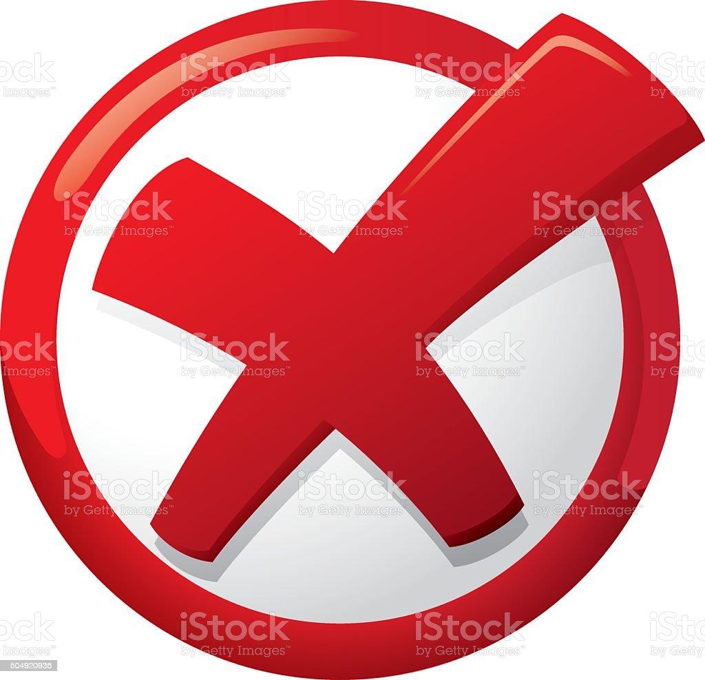 Error icon button, deleting, fault, delete, x vector art illustration