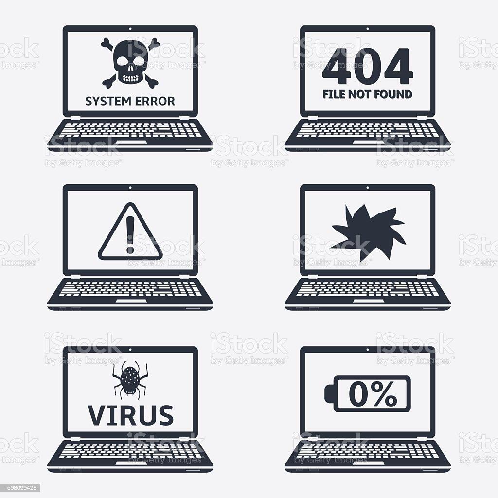Error laptop icons vector art illustration