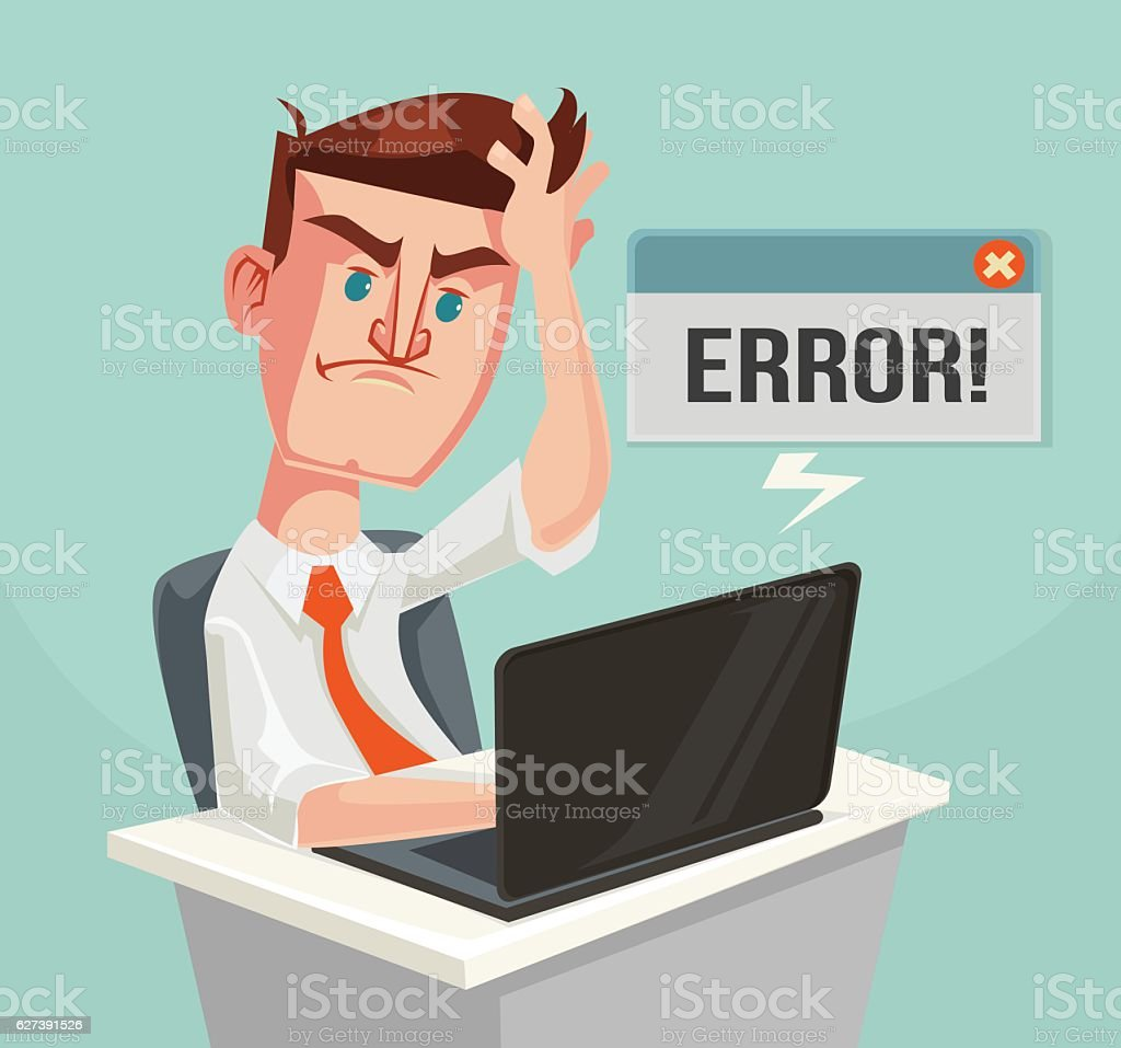 Error message and puzzled office worker character vector art illustration