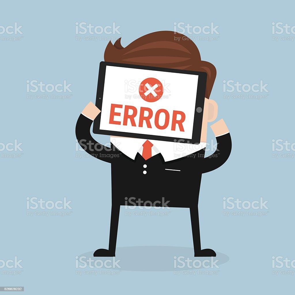 error message on tablet vector art illustration