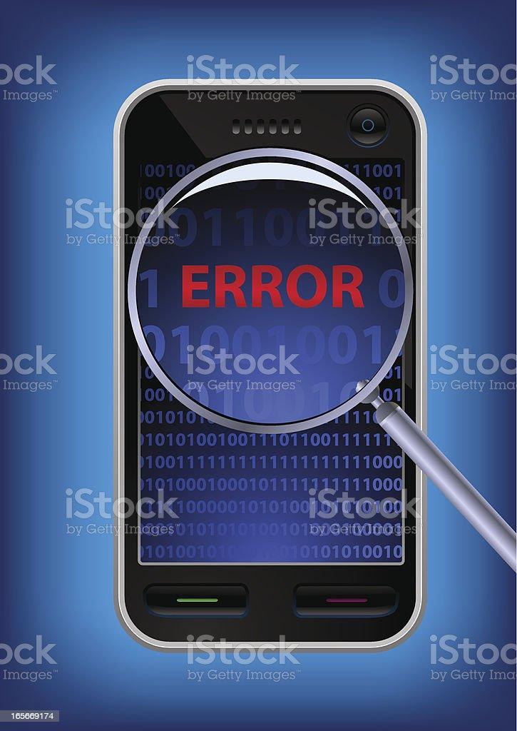 Error on a touch screen smart phone vector art illustration