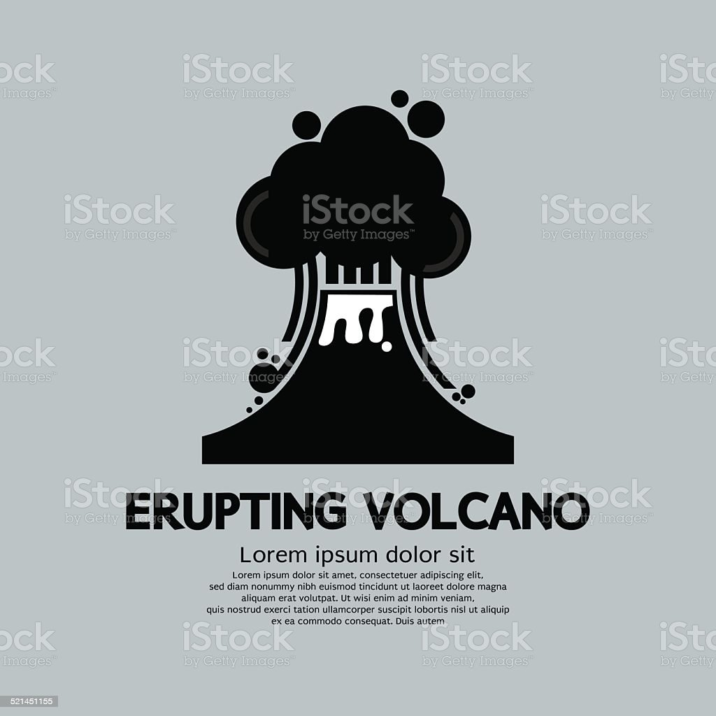Erupting Volcano Natural Disaster Vector Illustration vector art illustration