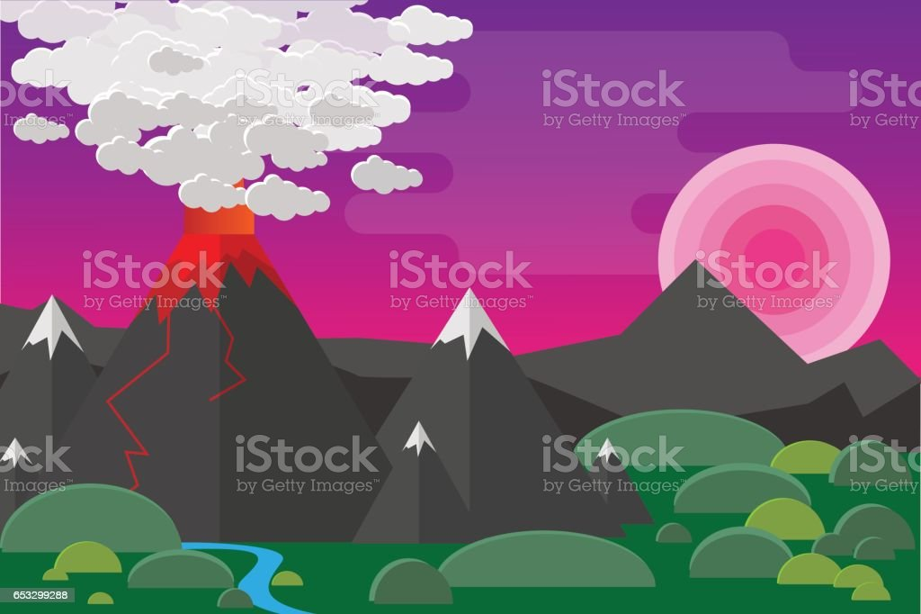 Eruption volcano vector illustation. vector art illustration
