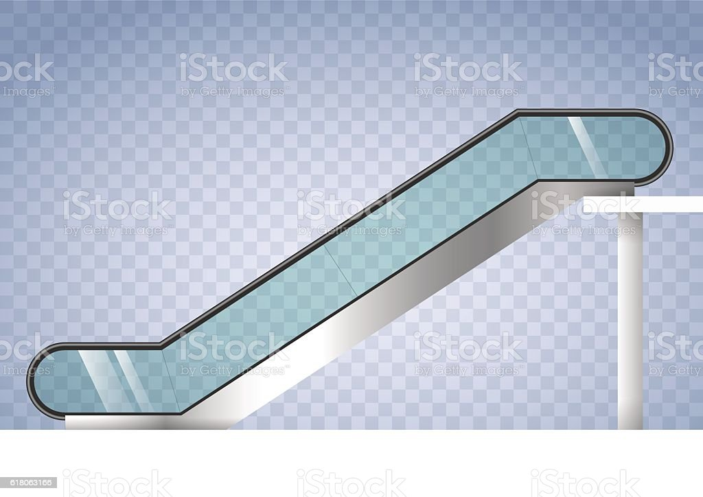 Escalator with transparent glass vector art illustration