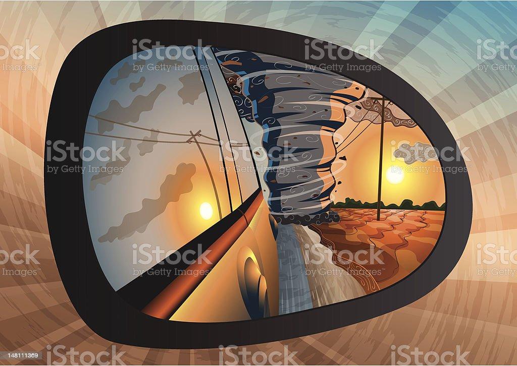 Escape from a tornado vector art illustration