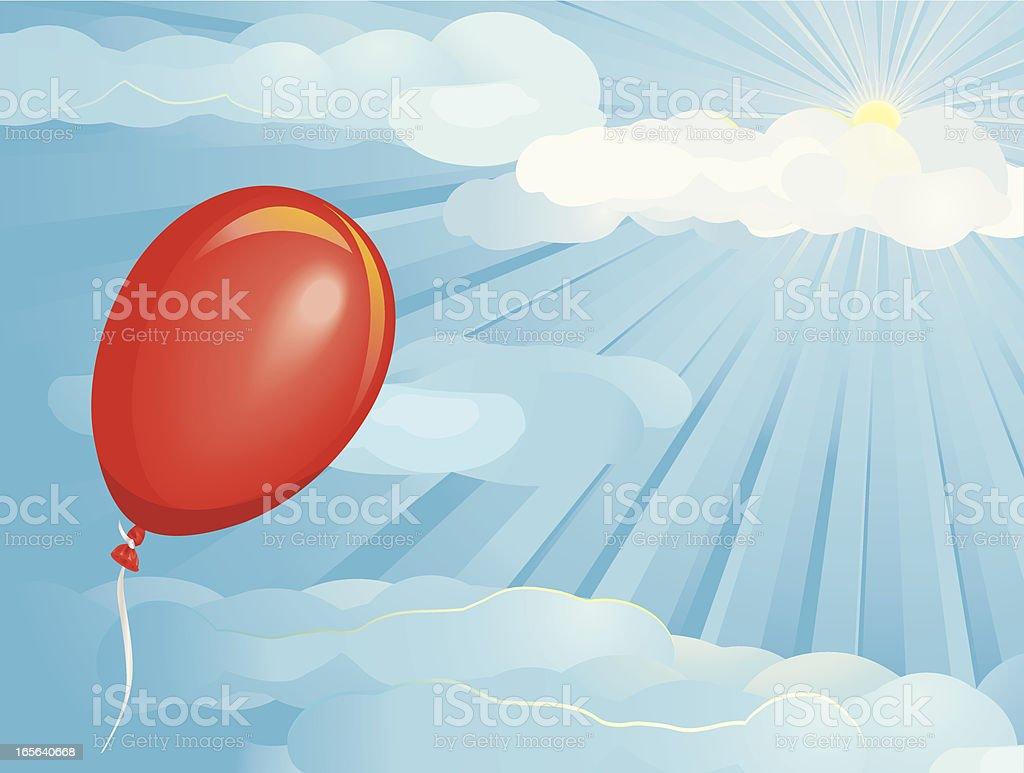 Escaping Red Balloon royalty-free stock vector art