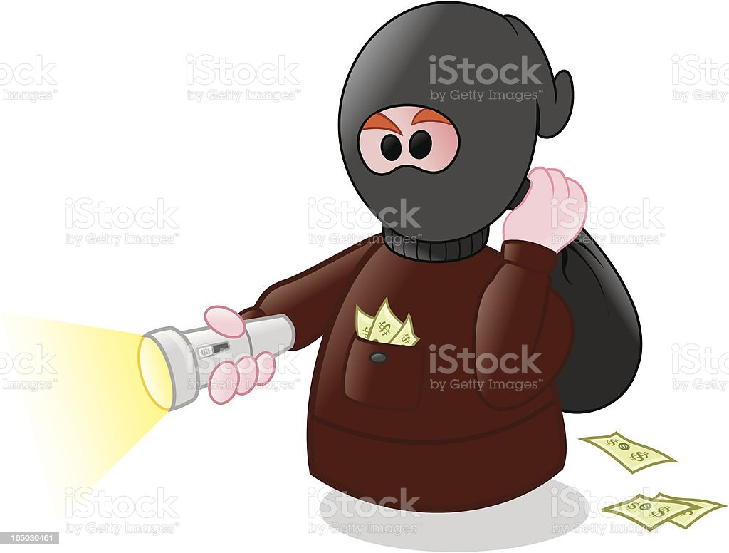 Escaping with the money royalty-free stock vector art