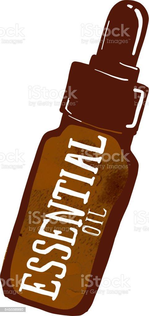 Eseential oil label and bottle vector art illustration