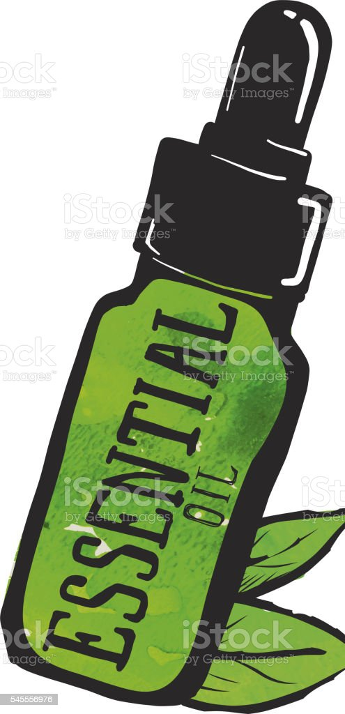 Eseential oil label and bottle with leaves vector art illustration