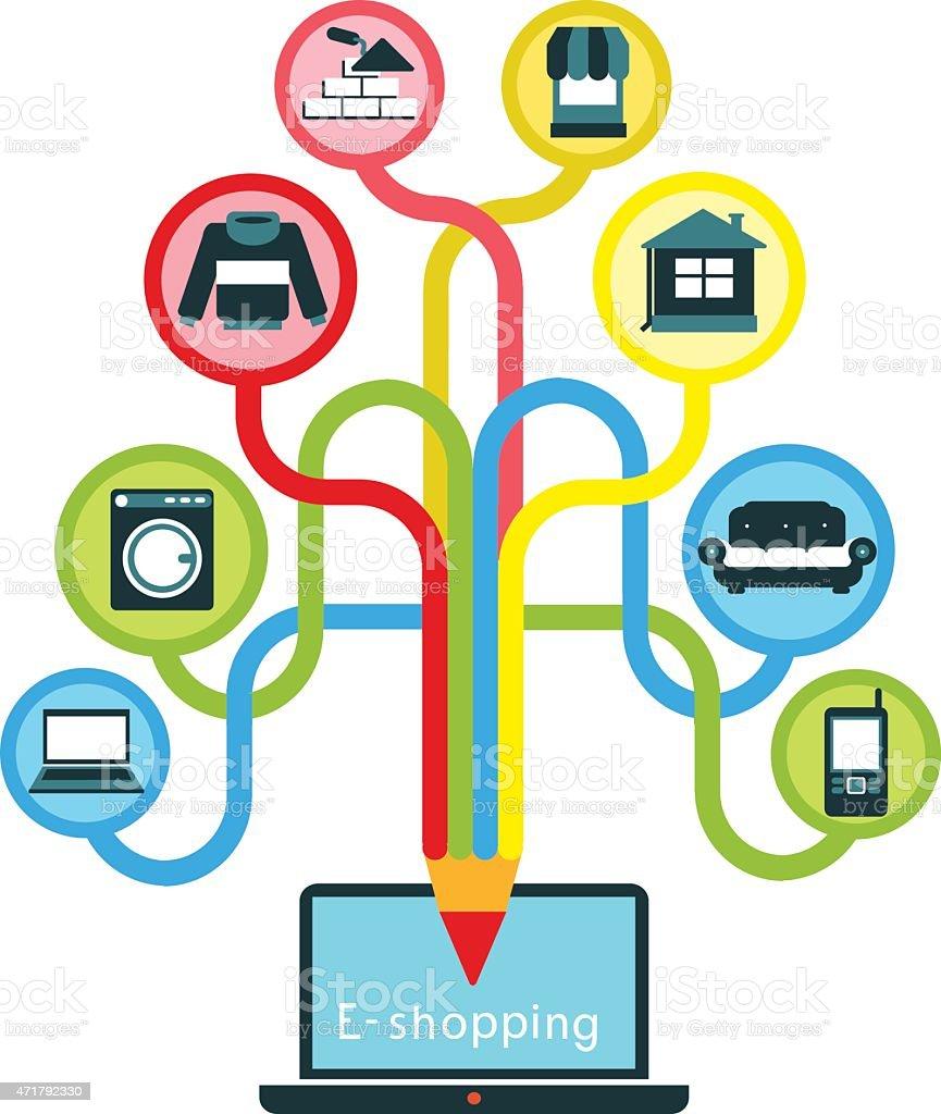 e-shopping vector art illustration