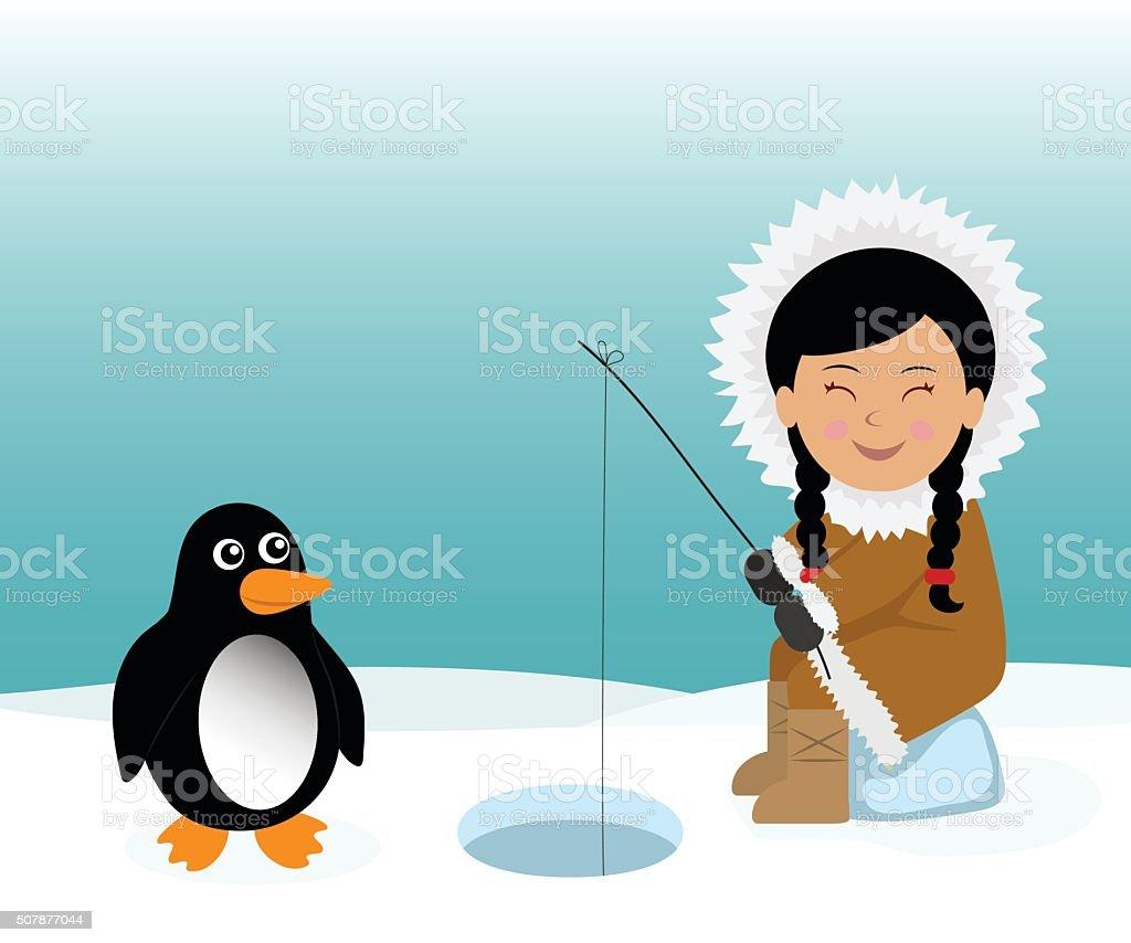 Eskimo and penguin fishing for fish. vector art illustration
