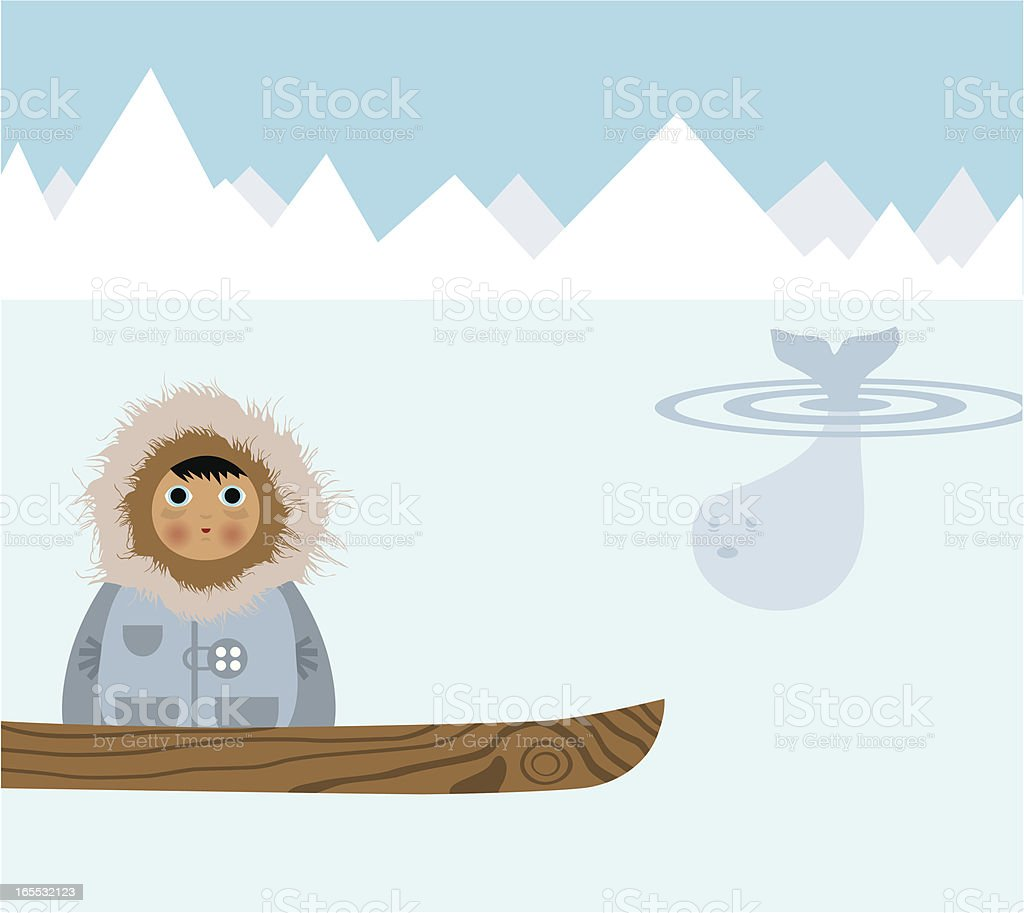 Eskimo and the Whale royalty-free stock vector art