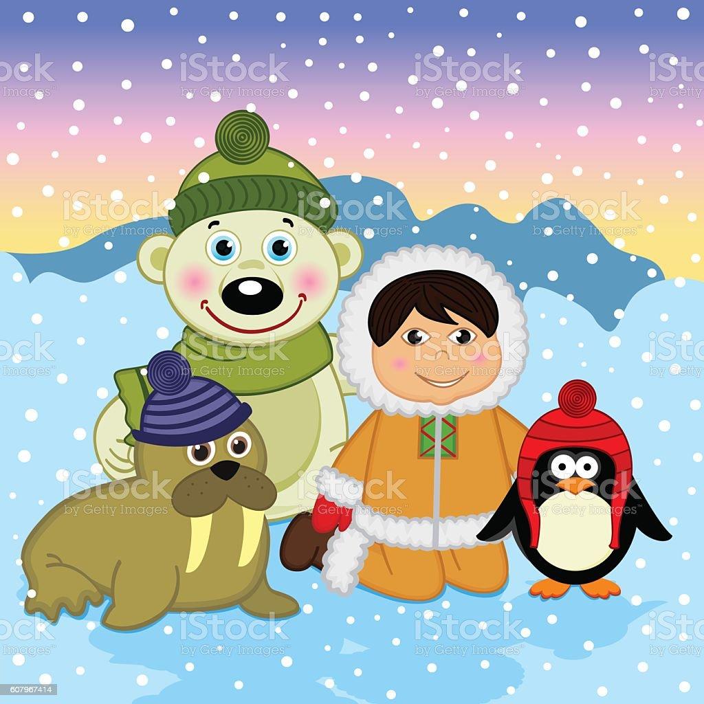 Eskimo boy with arctic animals vector art illustration