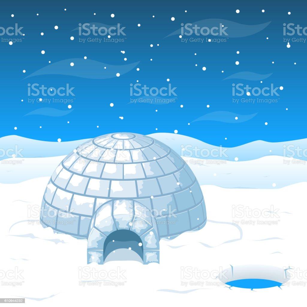 Eskimo cold house from ice blocks in Antarctica vector illustration vector art illustration