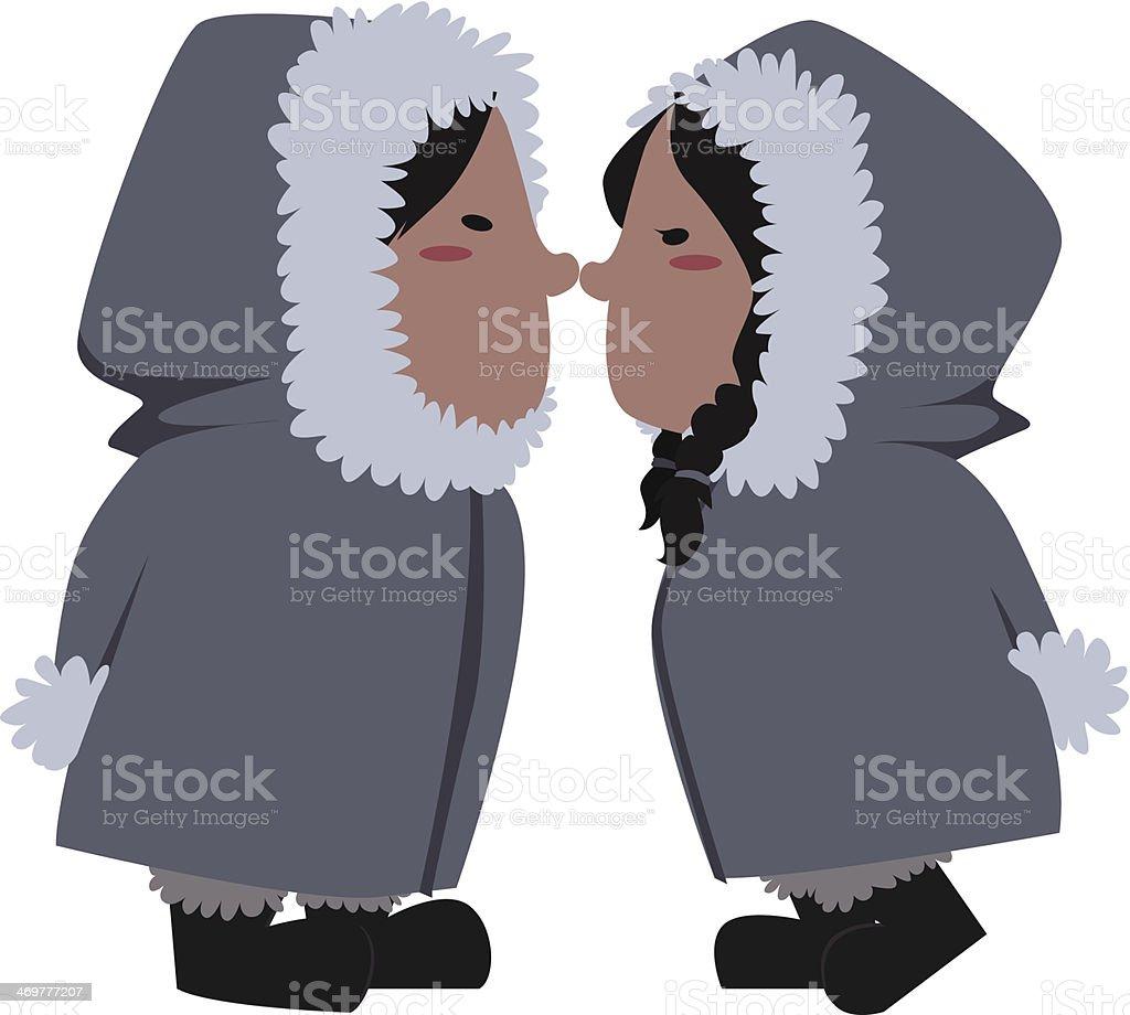 eskimo couple vector art illustration