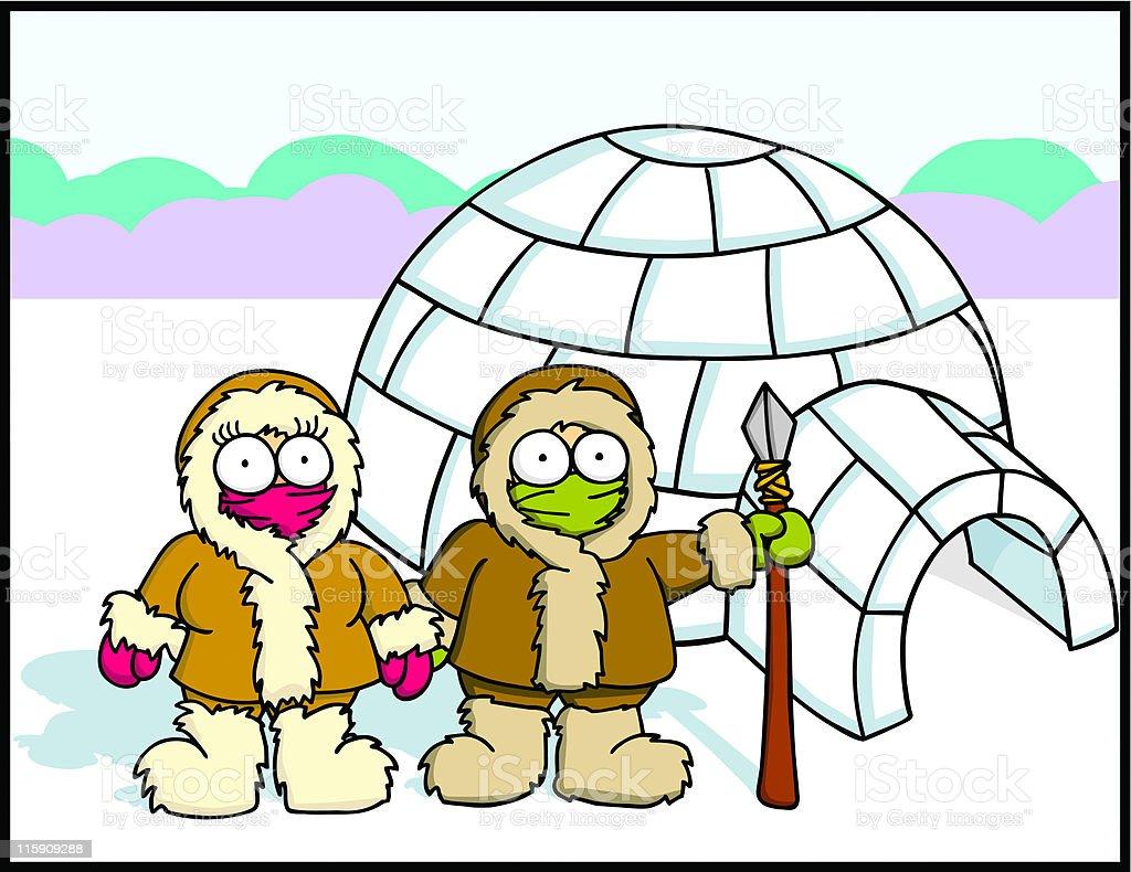 Eskimo Family royalty-free stock vector art