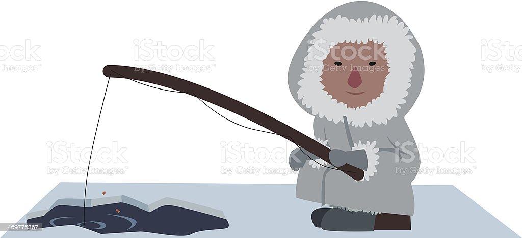 eskimo fisherman vector art illustration