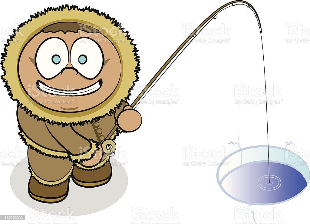 Eskimo Fishing royalty-free stock vector art