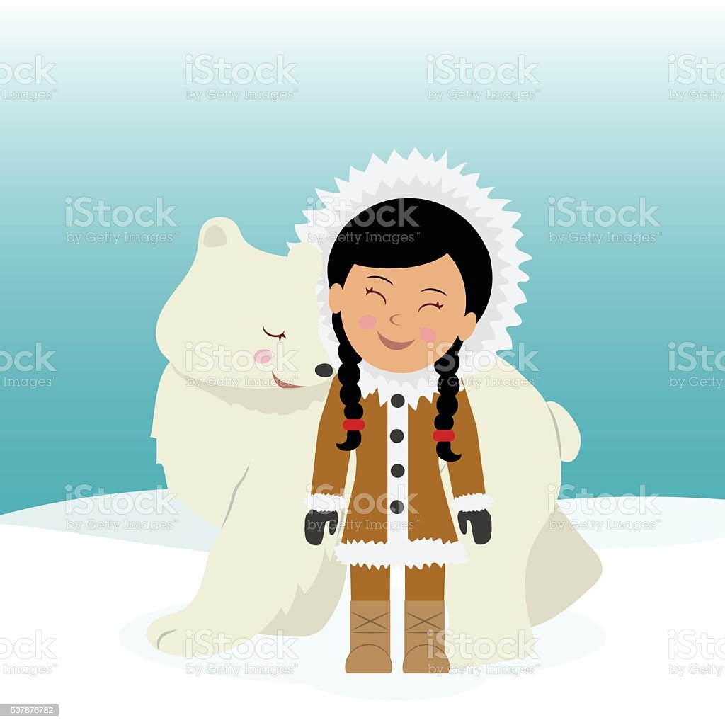 Eskimo girl hugging polar bear. vector art illustration