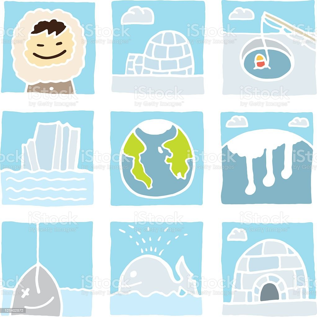 Eskimo Icon set royalty-free stock vector art