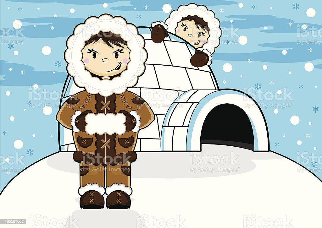 Eskimo & Igloo Scene vector art illustration
