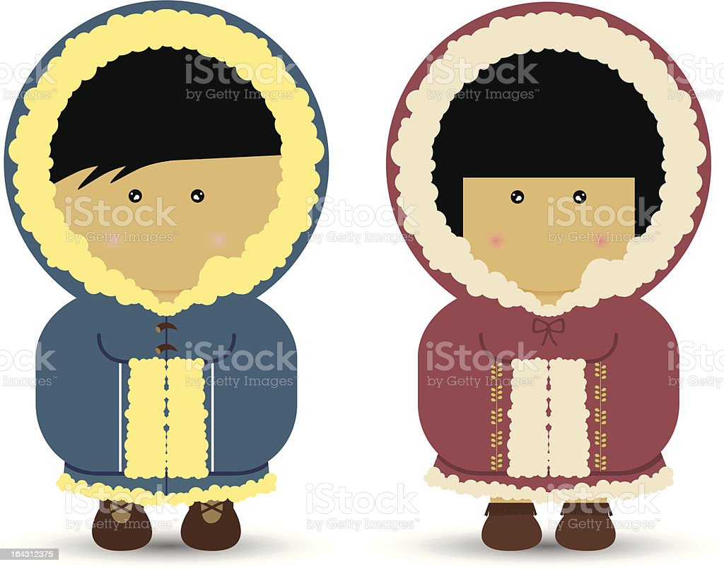 Eskimo / Inuit Boy and Girl royalty-free stock vector art