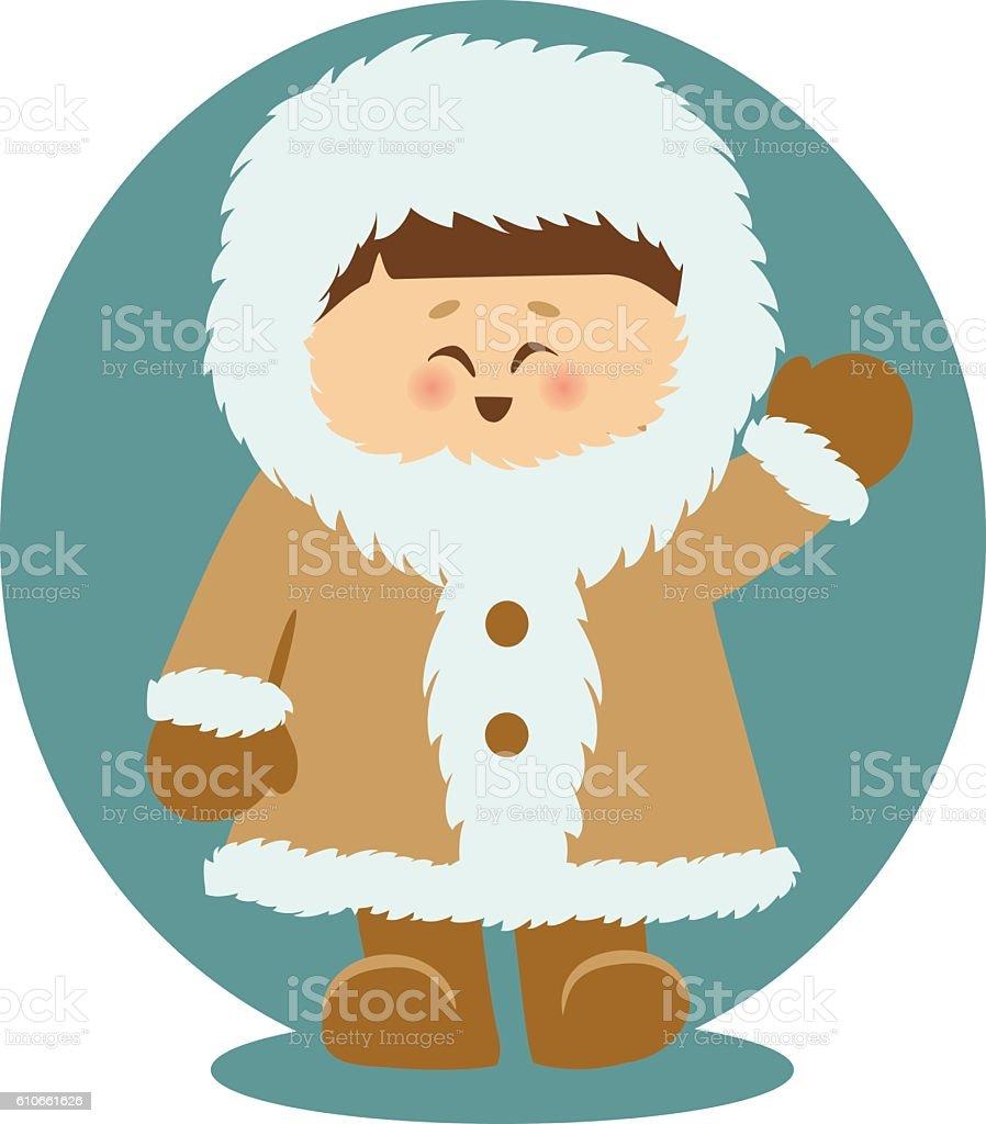 Eskimo Kid Waving Hello Isolated Illustration vector art illustration