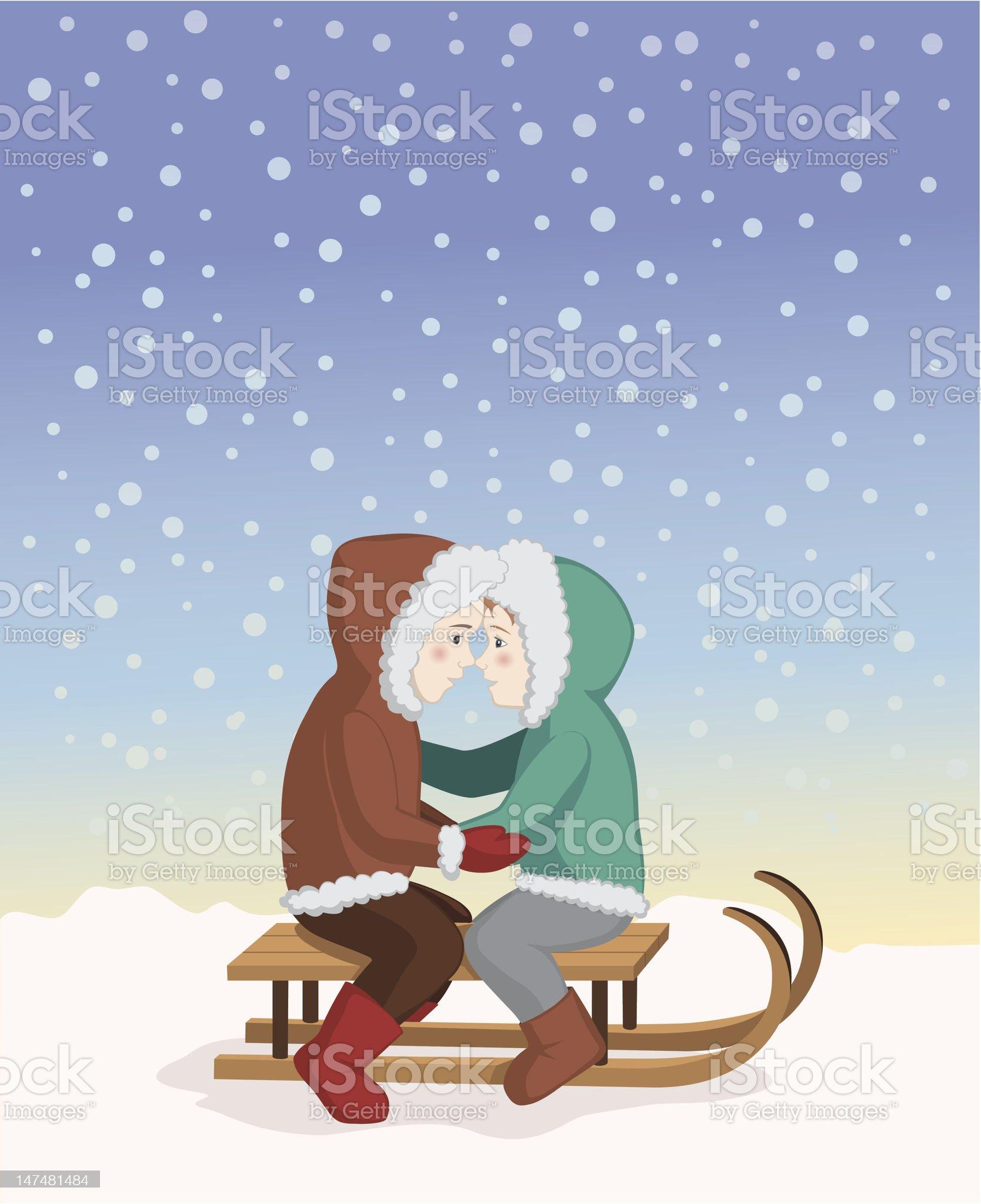 Eskimo kiss royalty-free stock vector art