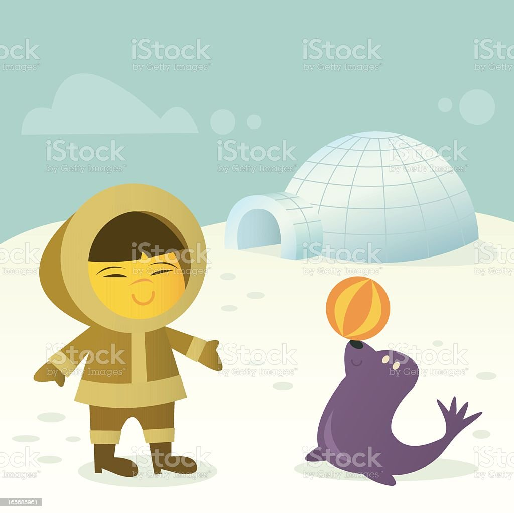 Eskimo with Seal royalty-free stock vector art