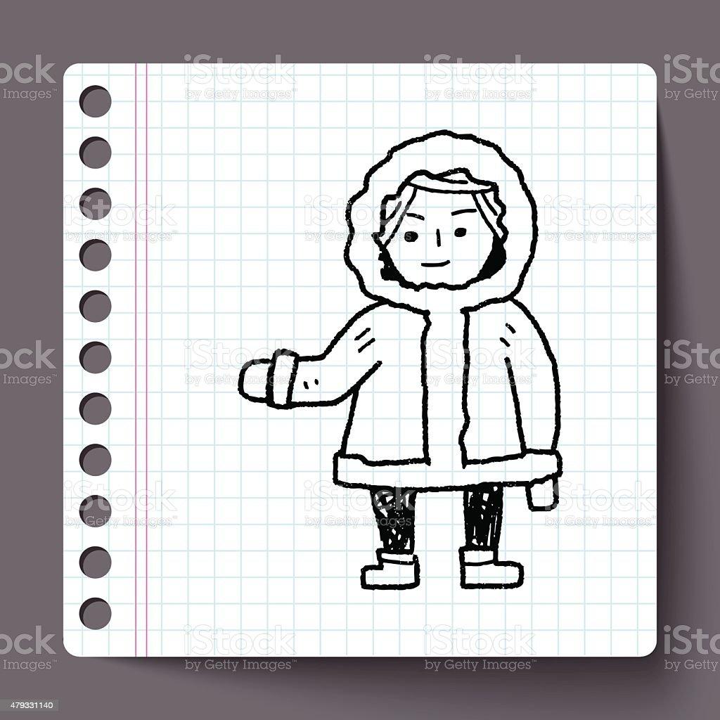 Eskimos doodle vector art illustration