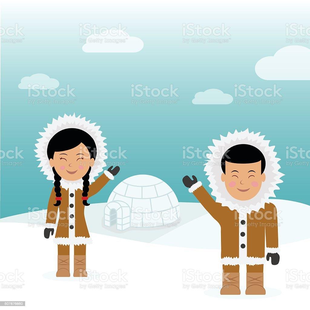 Eskimos friendly greeting near igloo house. vector art illustration